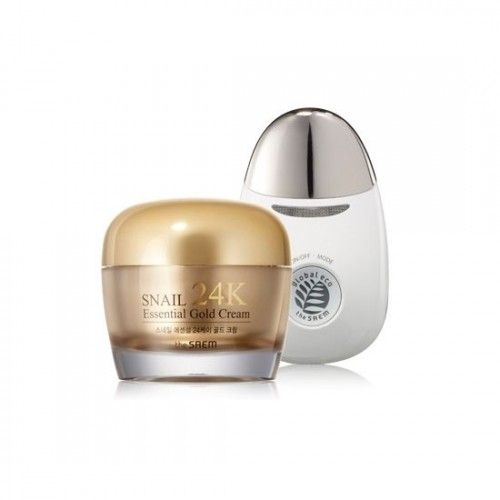 Крем для кожи вокруг глаз с муцином улитки и вибромассажер Snail Essential EX 24K Gold Eye Cream Set 30мл