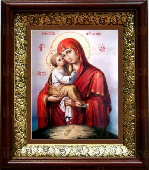 Почаевская икона БМ (19х22), темный киот
