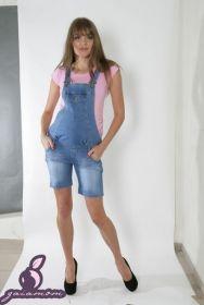 Джинсовый комбинезон шортами для беременных