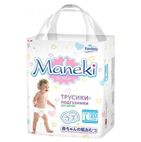 Maneki Подгузники-трусики детские одноразовые Fantasy МИНИ, размер L, 9-14 кг, 20 шт./упак
