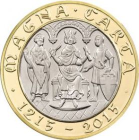 """800 лет Великой хартии вольностей """"Магна Карта""""  2 фунта Великобритания 2015 на заказ"""