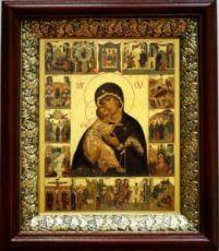 Владимирская икона БМ (19х22), темный киот