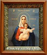Леушинская икона Божьей Матери (19х22), светлый киот