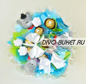 """Букет из игрушек с конфетами №483-3К """"Принц"""""""