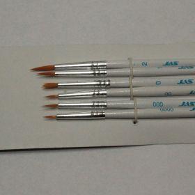 3691-Набор кистей из синтетического волоса,  6 шт. (№ 0000, 000, 00, 0, 1, 2)