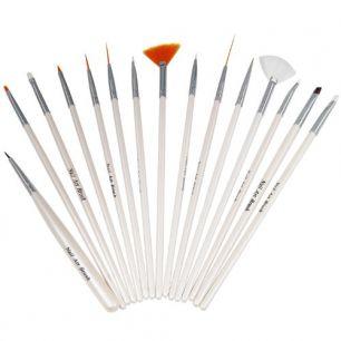 Кисти для нанесения геля и художественного дизайна ногтей, набор 15 штук.
