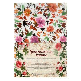 """Декупажная карта плотность 38 гр """"Волшебные цветы"""""""