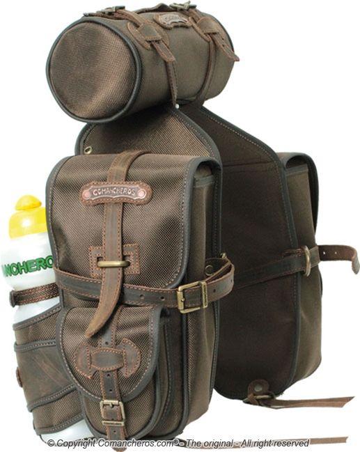 """Тройные седельные сумки """"Montana"""". Задние, нейлон+кожа"""