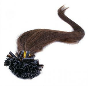 Натуральные волосы на кератиновой капсуле U-тип, №004 Темный каштан - 50 см, 100 капсул.