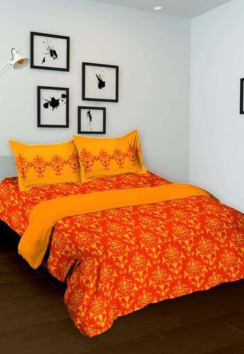 Оранжевое индийское покрывало с наволочками (хлопок) ХХХ