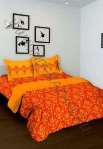 Оранжевое индийское покрывало с наволочками (Москва)