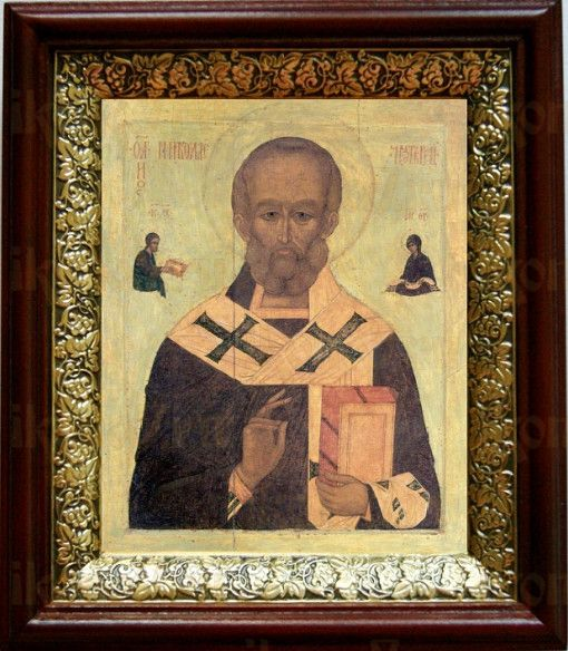 Николай Чудотворец (19х22), темный киот