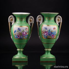 Две парные зеленые вазы с цветами, Carl Thieme, Potschappel, Германия, пер пол. 20 в