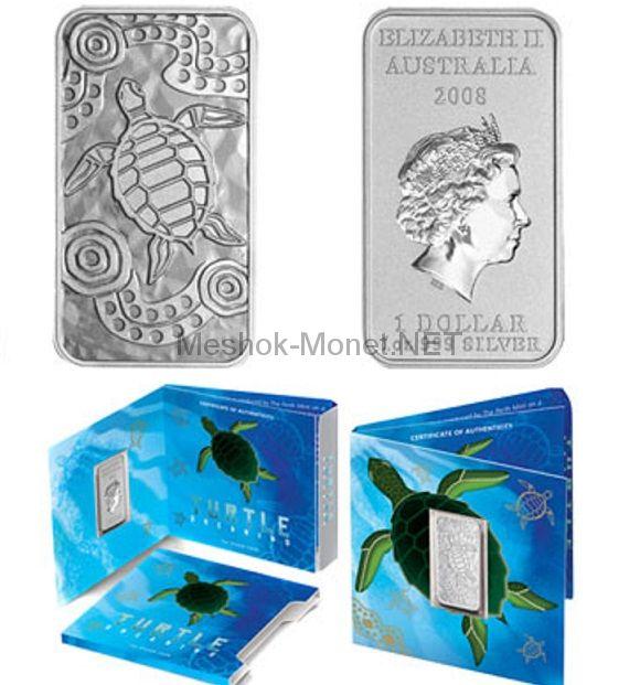 1 доллар 2008 года Австралия. Черепаха