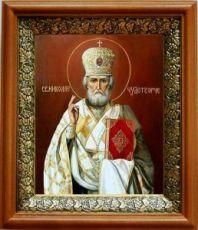 Николай Чудотворец (19х22), светлый киот