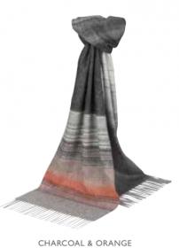 """шарф """"Форт-Уильям"""" из смеси драгоценного кашемира 53% и шерсти мериноса 47 %,  fine ombre stripe Charcoal & Orange плотность 6"""