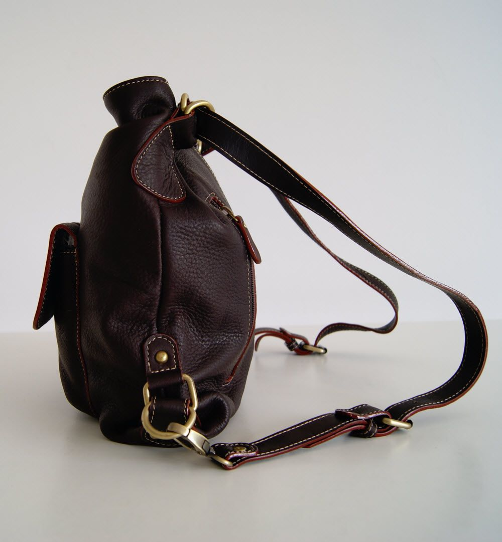 BUFALO TRJ04 BROWN кожаная сумка-рюкзак-трансформер