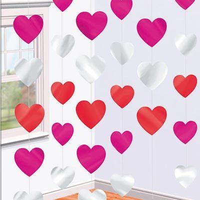 Гирлянда вертикальная Сердца разноцветные 21м 6шт