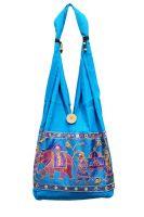 Яркая голубая индийская сумка со слонами, 835 руб.
