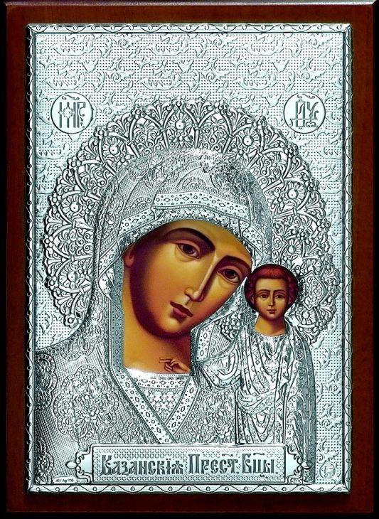 Серебряная икона Богородицы «Казанской» (листовое серебро, 15*21см., Россия)