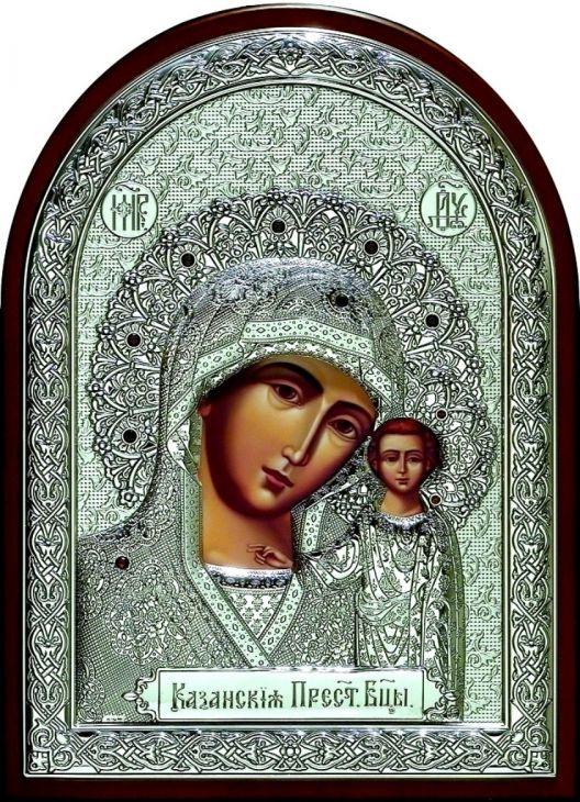 Инкрустированная гранатами серебряная икона Богородицы «Казанской» (25*34 см, Россия) в подарочной коробке