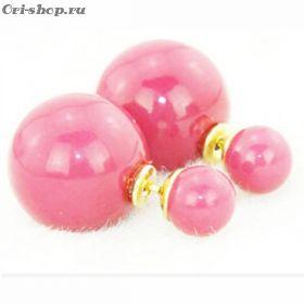"""Серьги-шарики """"Dior"""". Розовый матовый."""
