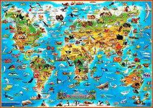 Настольная карта мира для детей (Животные)