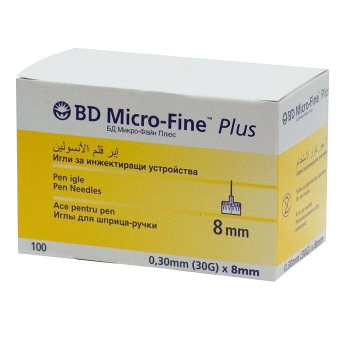 Иглы Микрофайн BD 8мм (30G, 0.3 мм) № 100