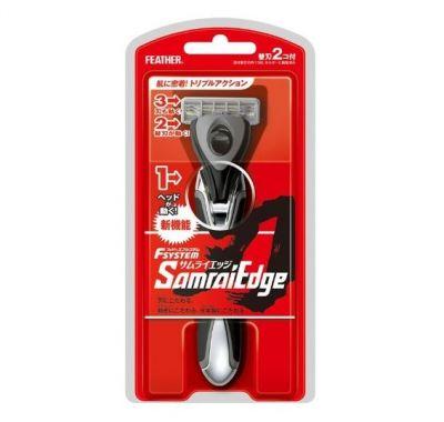 463001 Feather F-System Samrai Edge Мужской бритвенный станок с тройным лезвием(2 см.кассеты)