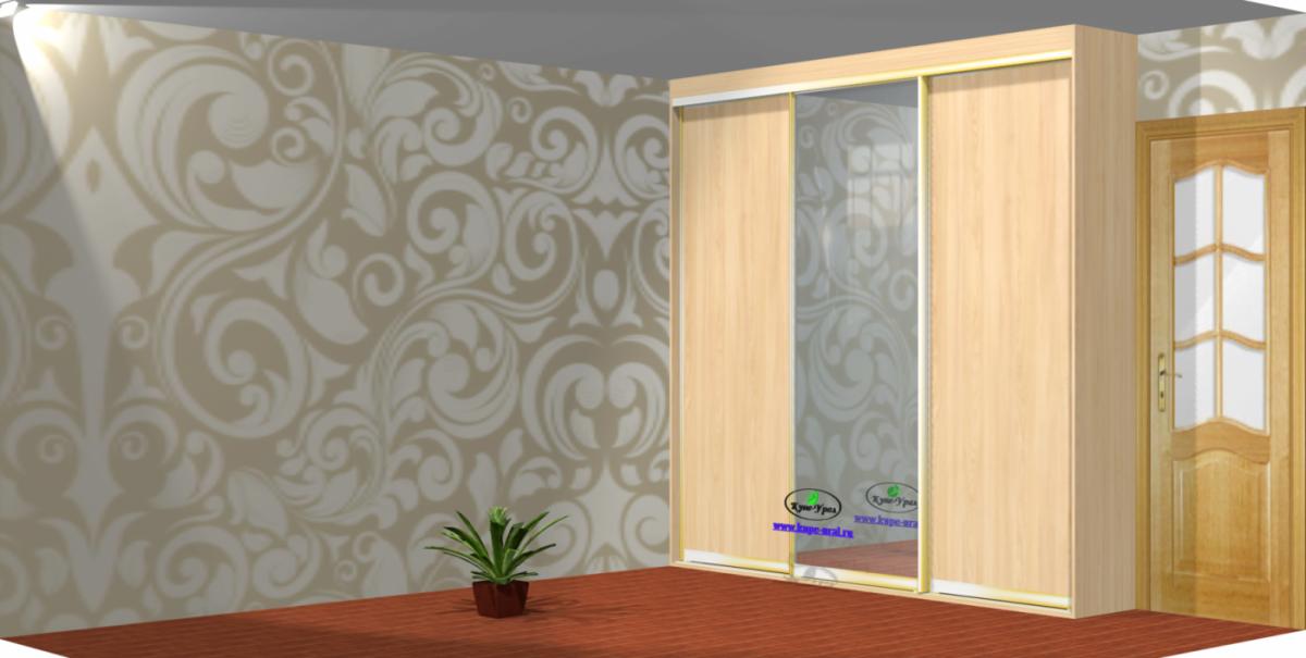 Встроенный шкаф купе с зеркалом и двумя стойками