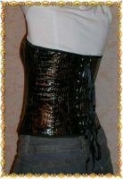 Корсет из ткани, имитирующей змеиную кожу, спинка