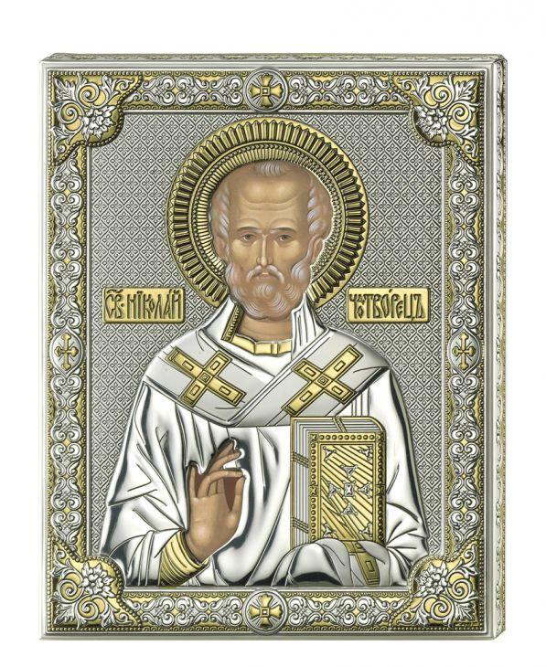 Серебряная икона Святой Николай (листовое серебро, прозрачный лак, Италия)