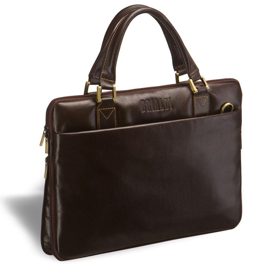 Деловая сумка SLIM-формата BRIALDI Ostin (Остин) brown