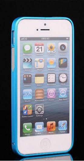 Алюминиевый бампер на iphone 5/5s (голубой)