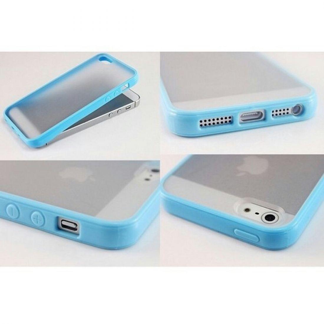Чехлы для iphone 5/5s - бампера с прозрачной крышкой (голубой)