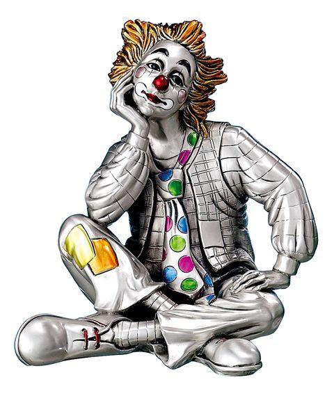 Серебряная коллекционная фигурка клоуна-мечтателя (Италия)