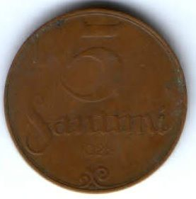 5 сантимов 1922 г. Латвия