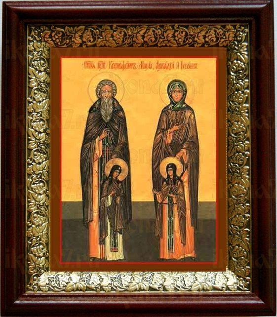 Ксенофонт и Мария (19х22), темный киот