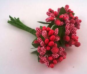 Тычинки в связках перламутровые, цвет - ярко-розовый, 1уп = 6 связок (1 связка = 11-12 букетиков)
