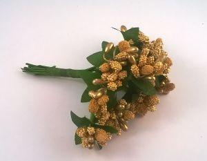 Тычинки в связках перламутровые, цвет - золото, 1уп = 6 связок (1 связка = 11-12 букетиков)