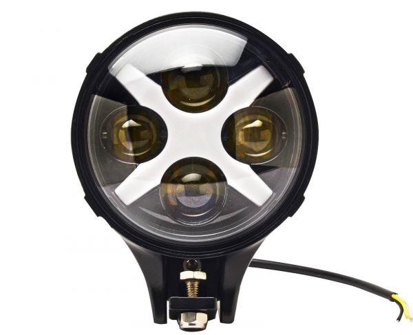 Круглые линзованные светодиодные фары дальнего света 80W с ДХО 2 шт.