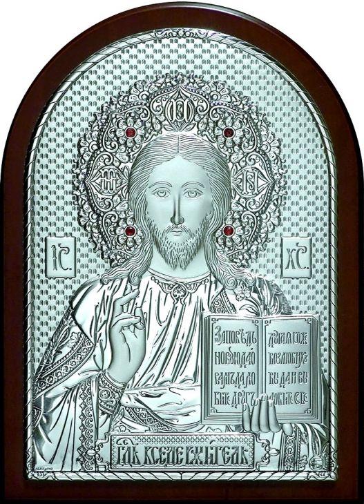 Инкрустированная гранатами серебряная икона Иисуса Христа Спасителя (14,5*20см., Россия) в подарочной коробке
