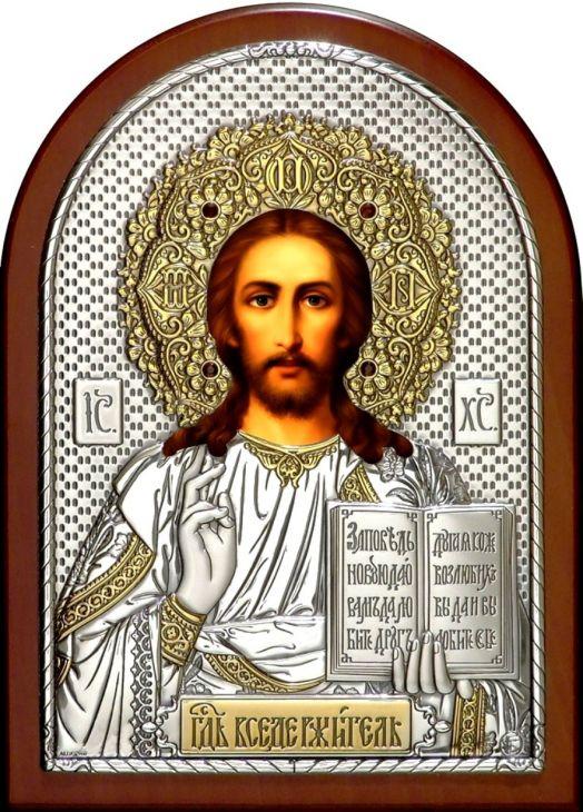 Инкрустированная драгоценными камнями серебряная с золочением икона Иисуса Христа Спасителя (25*34см., Россия) в подарочной коробке