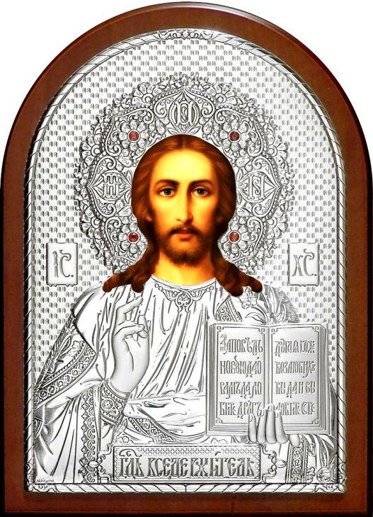 Инкрустированная гранатами серебряная икона Иисуса Христа Спасителя (25*34см., Россия) в подарочной коробке