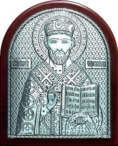 Серебряная икона святителя Николая Чудотворца (Угодника) (7*8.5см., Россия) в дорожном футляре