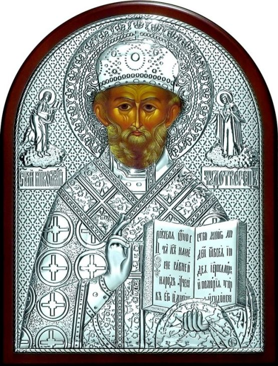 Серебряная икона святителя Николая Чудотворца (Угодника) (листовое серебро, 19*25см., Россия)