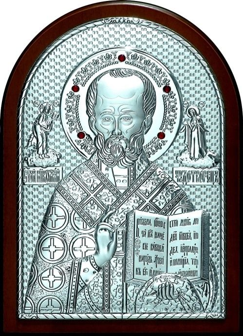 Инкрустированная гранатами серебряная икона святителя Николая Чудотворца (Угодника) (14,5*20см., Россия) в подарочной коробке