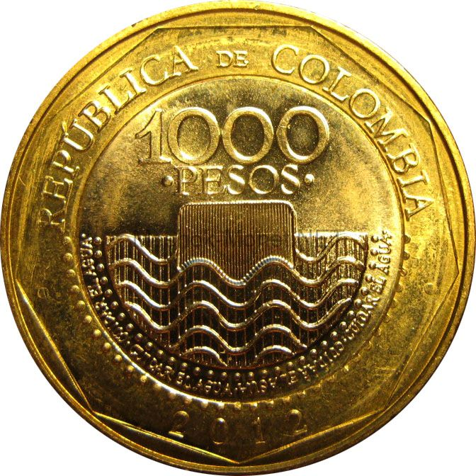Колумбия 1000 песо 2015 г.