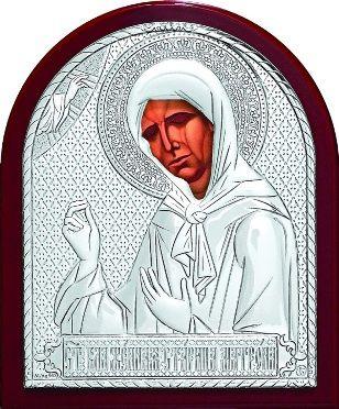Серебряная икона Святой Блаженной Матроны Московской (9*11см., Россия)