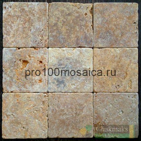Плитка из травертина GOLD TUMBLED 100х100х10 мм (Голд) (CHAKMAKS)